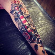 I want a lighthouse tattoo because my grandpa was once in the coast guard and lived in a lighthouse Leg Tattoos, Body Art Tattoos, Small Tattoos, Sleeve Tattoos, Tattos, Sugar Skull Sleeve, Cupid Tattoo, Oldschool Tattoos, Airplane Tattoos