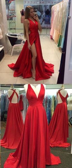 Red Sexy Long Prom Dresses For Teens with High Slit