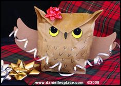 Owl Paper Bag Gift Bag Craft Kids Can Make www.daniellesplace.com