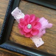 Shocking Pink Layered Chiffon Flower with by LavenderandLaceBows, $8.95