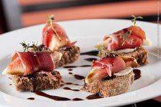 Bistrô 28 (jantar)    Crostini de figo com presunto cru e redução de aceto balsâmico