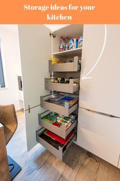 Storage & organization ideas for your kitchen. #kitchenorganization #kitchenorganizationideas #kitchenpantry #kitchenstorage #kitchendesign #kitchen #kitchenfurniture #mobila #mobiladebucatarie #bucatarii #bucatariimoderne #modernkitchens #KUXA #KUXAstudio #KUXAkitchens #bucatariiKuxa Kitchen Storage Solutions, Organizer, Bookcase, Shelves, Furniture, Cabinet, Studio, Design, Home Decor
