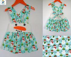 Girls Christmas dress, Snowman dress, blue, girls suspender skirt, Girls clothing, 100% cotton, girl, baby, toddler, size 6m to 10Y