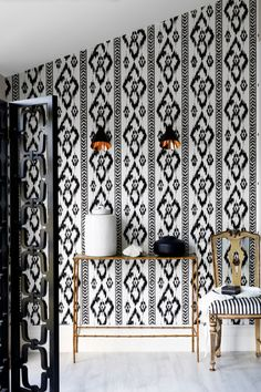 Louisa Grey - ikat wallpaper