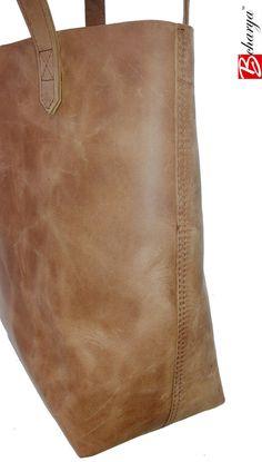 Smart Ladies Simple Brown Leather Tote by BCHARYA on Etsy