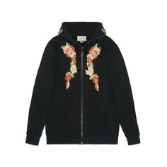 Gucci Embroidered Hooded Sweatshirt ($2,600) ❤ liked on Polyvore featuring tops, hoodies, oversized hoodies, embroidered hoodies, oversized hoodie, embellished tops and gucci hoodies