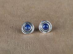 Handmade Natural Lapis Lazuli Gemstone Stud Earrings in Pure 925 Sterling Silver