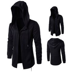Plus Size Black Fashion Casual Mid Long Cloakman Cloak Hooded Jacket for Mensales-NewChic Mobile