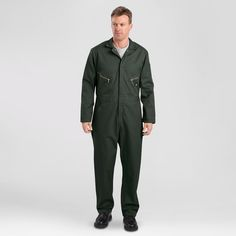 Dickies Men's Big & Tall Deluxe Long Sleeve Blended Twill Coverall- Olive Green S Tall