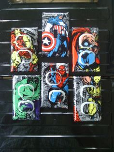 Marvel Avengers Set Iron Man Wolverine Captain America Spiderman Thor Single Switch Plate and 5 Outlets Dresser Knob Pulls to Match in Shop - Visit to grab an amazing super hero shirt now on sale! Marvel Nursery, Marvel Bedroom, Avengers Room, Marvel Avengers, Boy Room, Kids Room, Hulk Spiderman, Super Hero Shirts, Boys Bedroom Decor