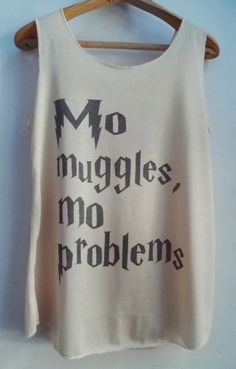 Mo Muggles Mo Problems Harry Potter Tank Top Pop Punk Rock Tank Top Vest Women Swag T shirt Movie T-Shirt SizeS,M,L