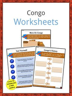 This is a fantastic bundle which includes everything you need to know about the Congo across 23 in-depth pages. These are ready-to-use Congo worksheets that are perfect for teaching students about the second largest country on the African continent, eleventh largest country in the world, fourth most populous country in Africa, and the sixteenth most populous in the world, the Congo (also known as the Democratic Republic of the Congo) which is a country that can be found in Central Africa. Geography Worksheets, Worksheets For Kids, Congo Free State, Congo River, Belgian Congo, Geography For Kids, Space Facts, Largest Countries, Republic Of The Congo