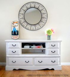 Love this idea for a tv stand. Also, liking the colours for redoing my dresser.