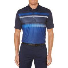Ben Hogan Men's Bigs Performance Short Sleeve Fading Chest Stripe Golf Polo, Blue