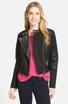 Stretch Cotton & Faux Leather Moto Jacket