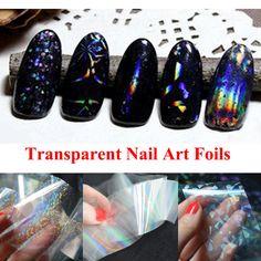 1 unids Nuevas Láminas de Arte de Uñas Transparente 4 cm X 100 cm Cielo Estrellado Brillo de Uñas Manicura Pegatina de Transferencia de Papel Herramientas de uñas