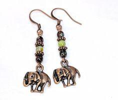 Copper Elephant Earrings, Glass Bead Dangle Drop Earrings, Elephant Jewelry, Boho Chic, Gift For Her, Animal Earrings, Unique Jewelry
