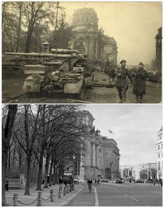 Russian soldiers in front of the Reichstag building in this undated photo taken May 1945 in Berlin (top) and at the same location (bottom) April 18, 2015. (Georgiy Samsonov (top), Fabrizio Bensch/Reuters (bottom))
