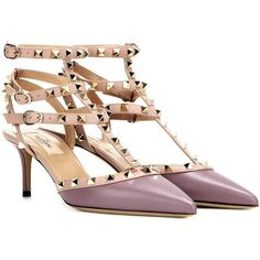 Valentino Rockstud Leather Kitten-Heel Pumps (26 440 UAH) ❤ liked on Polyvore featuring shoes, pumps, purple, real leather shoes, valentino pumps, genuine leather shoes, valentino shoes and leather pumps