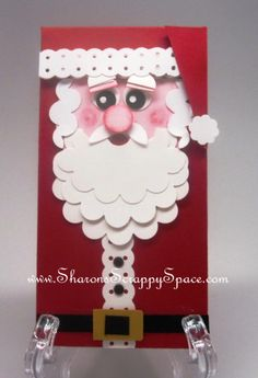 Punch Art Cards and Projects: Santa Card Christmas Paper Crafts, Christmas Cards To Make, Xmas Cards, Holiday Cards, Santa Christmas, Vintage Christmas, Christmas Ideas, Scrapbooking, Scrapbook Cards