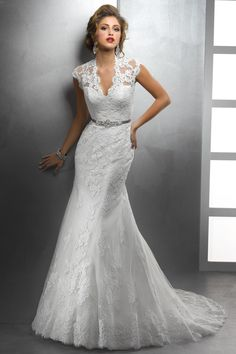 Classic Hollywood Glam Vintage Ivory $$$ - $1501 to $3000 A-line Cap Sleeve Floor Historic Site Illusion Sleeves Lace Natural Sash/Belt Sottero & Midgley V-neck Wedding Dresses Photos & Pictures - WeddingWire.com