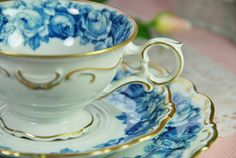 SCHUMANN Tea Trio Cup Saucer Plate Blue Roses by DadsTeacups, ETSY - oh love this one!!! cc