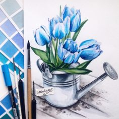 Flowers Art Drawing Sketches Watercolors Ideas For 2019 Flower Sketch Pencil, Flower Sketches, Color Pencil Art, Art Drawings Sketches, Sketch Drawing, Watercolor Landscape, Watercolor Flowers, Watercolor Paintings, Painting Flowers