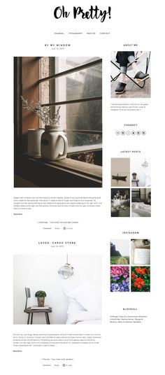 Oh Pretty - a Squarespace template (theme) design customization that's perfect for lifestyle bloggers #minimal #clean… http://ibeebz.com