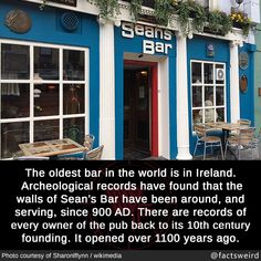 factsweird meme oldest bar in the world is in ireland archeological record have found that the walls of seansbar have been around and serving since 900 ad records of every owner of the pub back to its century founding opened over 1100 years ago Oh The Places You'll Go, Cool Places To Visit, Places To Travel, Travel Stuff, Old Bar, Wtf Fun Facts, Crazy Facts, Random Facts, Just Dream