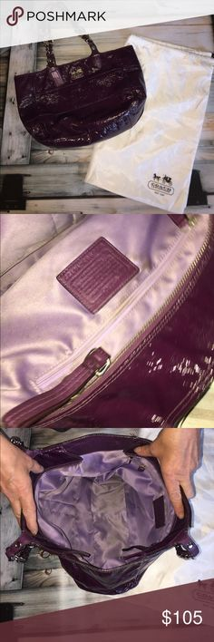 "Coach Patent Leather 'Tribeca' East/West Tote 5005 Size Width 16.0"" Height 10.0"" Depth 4.25"" Handle Drop 8.75""  Product Details Type of Material: Patent Leather Color: Purple Hardware: Silver-tone Closure: Zipper Includes: Dust Bag  Classically designed and meticulously crafted, Coach has set an iconic standard for American luxury since 1941. In 1962, Bonnie Cashin began a partnership with Coach which lasted until 1974. Her use of utilitarian hardware and bright colors revolutionized their…"