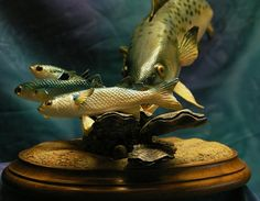 Wood Carving of a Speckled Trout with Prey  in flats by glassnwood