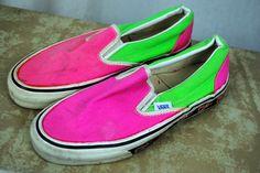 RARE Vintage 80s Neon Vans Deck Shoes