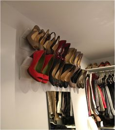Shoe organization with crown moulding.