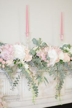 ROSES and ROMANCE - pink and cream fireplace decoration with eucalyptus foliage Dusky Pink Weddings, Romantic Weddings, Wedding Bouquets, Wedding Flowers, Wedding Room Decorations, Navy Blue Living Room, Wedding Inspiration, Wedding Ideas, Bridal Accessories