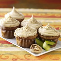 zucchini cupcakes. Too bad having a fruit or veggie in a baked good doesn't make it low calorie (244 a cupcake). But still, these look yummy!
