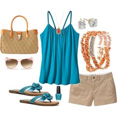 Teal and orange, created by lkbecker on Polyvore