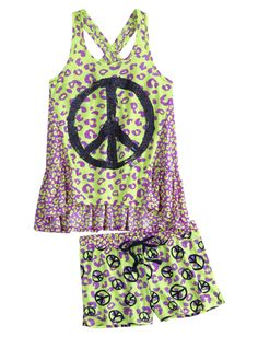 Cheetah Peace 2pc Pajama Set | Short Sets | Pajamas | Shop Justice