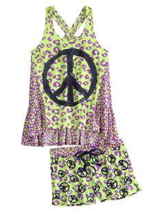 Cheetah Peace 2pc Pajama Set | Short Sets | Pajamas | Shop Justice