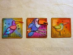 Oops, I Craft My Pants: Three Bird Inchies made from Scraps