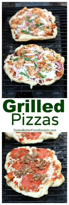 easiest and most delicious way to eat pizza! We LOVE these grilled pizzas and they're so easy to make from home! On The easiest and most delicious way to eat pizza! We LOVE these grilled pizzas and they're so easy to make from home! Grilled Pizza Recipes, Grilled Desserts, Grilled Food, Cooking Recipes, Healthy Recipes, Easy Recipes, Cooking Tips, Cooking Bacon, Water Recipes
