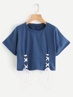 Shop Double Grommet Lace Up Hem Tee online. SheIn offers Double Grommet Lace Up Hem Tee & more to fit your fashionable needs. Girls Fashion Clothes, Teen Fashion Outfits, Mode Outfits, Cute Fashion, Outfits For Teens, Fashion Styles, Cute Girl Outfits, Cute Casual Outfits, Cute Crop Tops