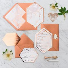 copper and marble geometric wedding stationery