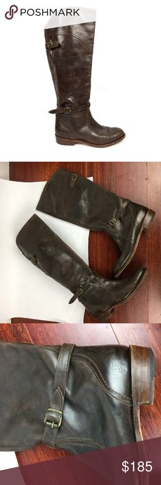 FRYE Dorado Brown Leather Riding Boots \\ Sz 9 Amazing brown Leather Riding Boots by Frye. Dorado style. Gently preowned and perfectly broken in. Minimal marks on leather. Light scuffs on soles. No major signs of wear. Authentic. Frye Shoes Combat & Moto Boots