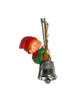 Hallmark Ornament  1980  Elf on Thimble  3rd in Series by CocoRaes, $12.00