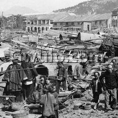 c.1900 View of beached sampans along the Yau Ma Tei shoreline | Gwulo: Old Hong Kong
