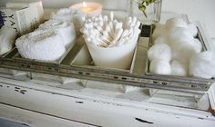 Guest Tray of Supplies  ~ stored when not in use  Making Toiletries part of your Bathroom Decor.