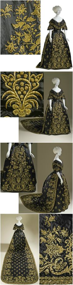 Woman's Dress and Train, Portugal, c. Silk satin with metallic-thread embroidery and silk net (tulle) trim. Said to have been worn by Queen Maria II of Portugal (reigned in Collection of the Los Angeles County Museum of Art (LACMA). 1800s Fashion, 19th Century Fashion, Victorian Fashion, Vintage Fashion, Victorian Era, Historical Costume, Historical Clothing, Vintage Gowns, Vintage Outfits