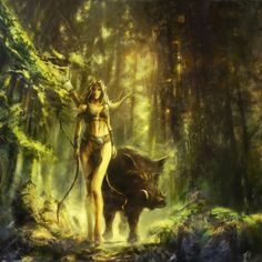 birdsofrhiannon: In Celtic mythology, Arduinna was the eponymous goddess of the Ardennes Forest and region, represented as a huntress riding a boar. Her cult originated in what is today known as Ardennes, a region of Belgium, Luxembourg and France. She was later assimilated into the Gallo-Roman mythology of goddess Diana. § illustration: Arduinna by CyrilBarreaux