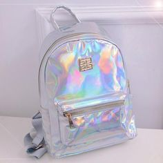 Suutoop Holographic Backpack Women School Backpacks For Teenage Girls Fashion Travel Rucksack Small PU Leather Backpack Cute Mini Backpacks, Girl Backpacks, School Backpacks, Leather Backpacks, School Bags For Girls, Girls Bags, Disfraz Lilo Y Stitch, Fashion Bags, Fashion Backpack