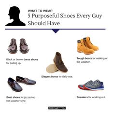 [TDY 5 purposeful shoes every guy should have Boat Shoes, Men's Shoes, Brown Dress Shoes, What To Wear, Workout, Guys, Elegant, Boots, Sneakers